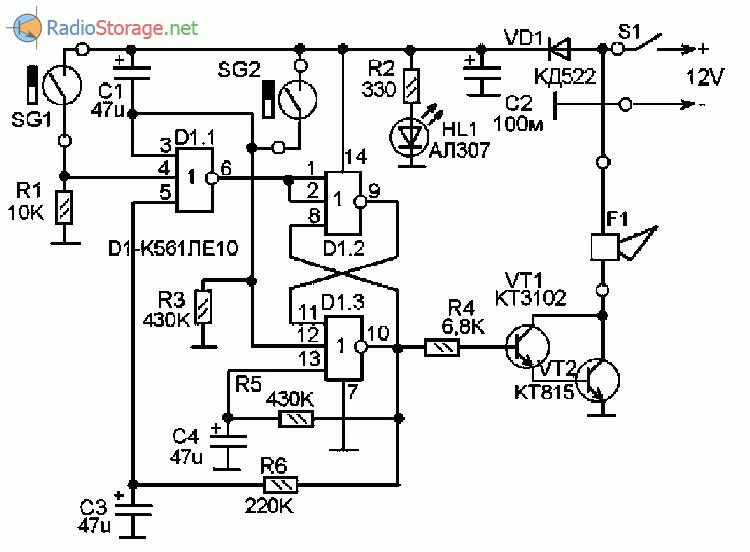 Принципиальная схема охранного устройства на микросхеме К561ЛЕ10