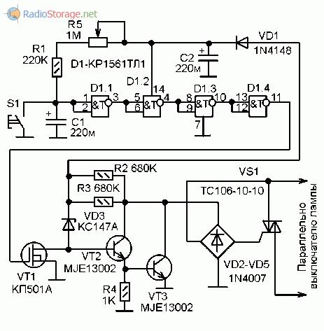 Принципиальная схема переключателя с таймером на К1561ТЛ1