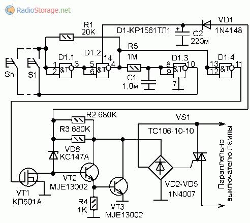 Схема выключателя с неограниченным числом мест управления