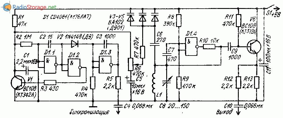 Простой генераторт качающейся частоты на микросхеме К176ЛА7 (ГКЧ)