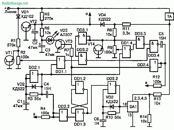 Активный индикатор состояния линии с системой защиты