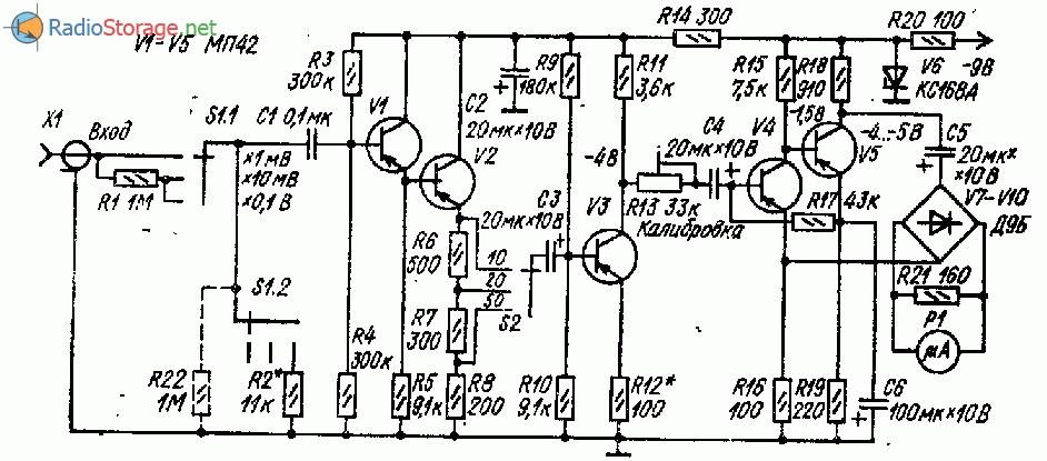 Милливольтметр переменного тока на пяти транзисторах
