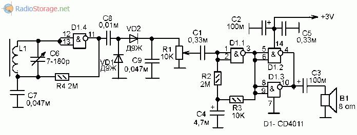 Принципиальная схема приемника на микросхеме К176ЛА7, К176ЛЕ5, CD4001