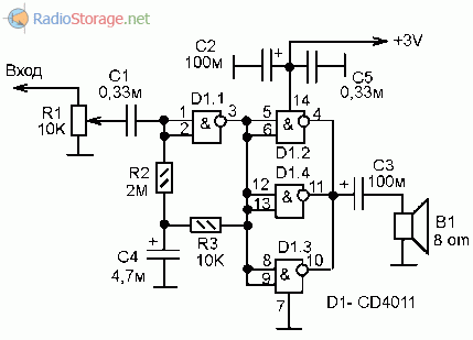 Принципиальная схема усилителя мощности низкой частоты на микросхеме К176ЛА7