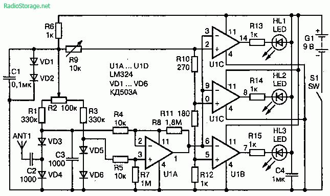 Схема искателя подслушивающих устройств (30—500 МГц) выполненого на микросхемах LM324