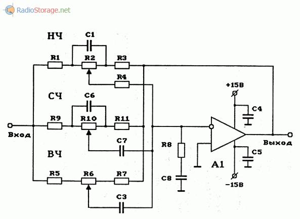 Схема трехполосного регулятора тембра (НЧ, СЧ, ВЧ) на ОУ