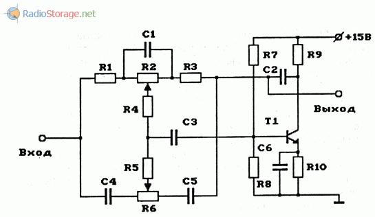 Схема двухполосного регулятора тембра (НЧ, ВЧ) на транзисторе
