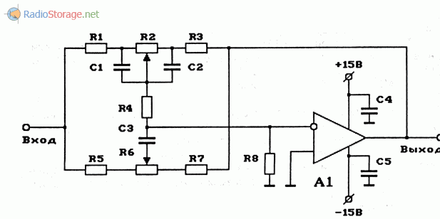 Схема двухполосного регулятора тембра (НЧ, ВЧ) на ОУ