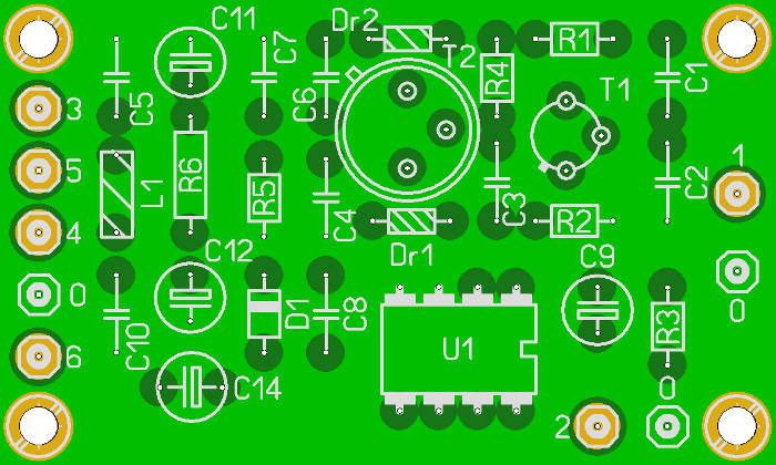 Печатная плата QRP трансивера Pixie-2, расположение компонентов.