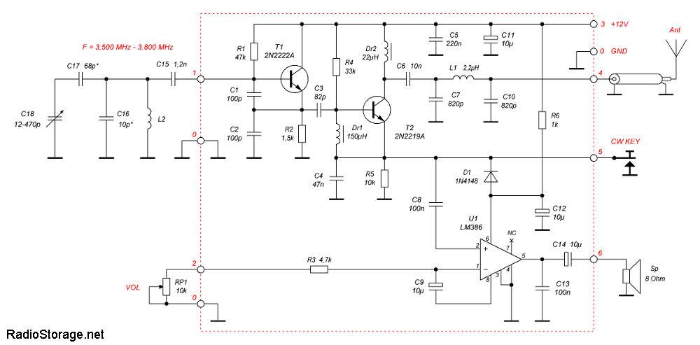 Принципиальная схема QRP трансивера Pixie-2 с модификацией