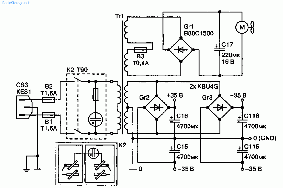Схема УМЗЧ на ИМС TDA7294V (100 Вт)