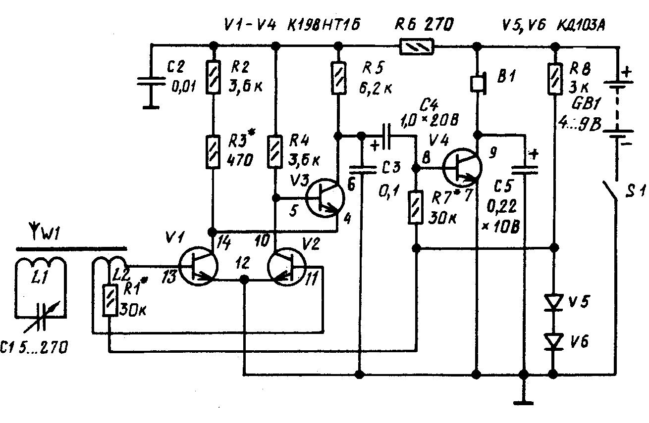 схема самодельного радиоприемника на микросборке К198НТ1Б