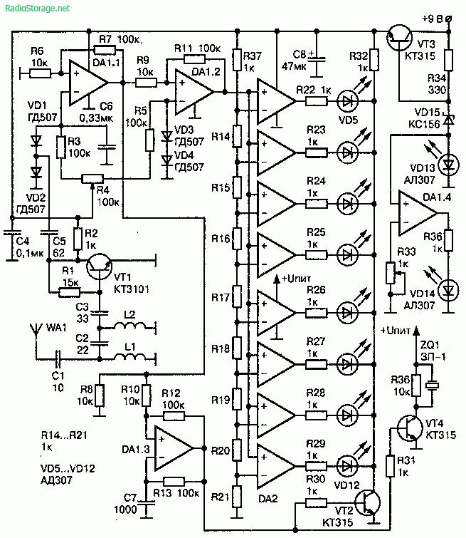 Детектор жучков - индикация из 8ми светодиодов, регулировка чувствительности и звуковая индикация