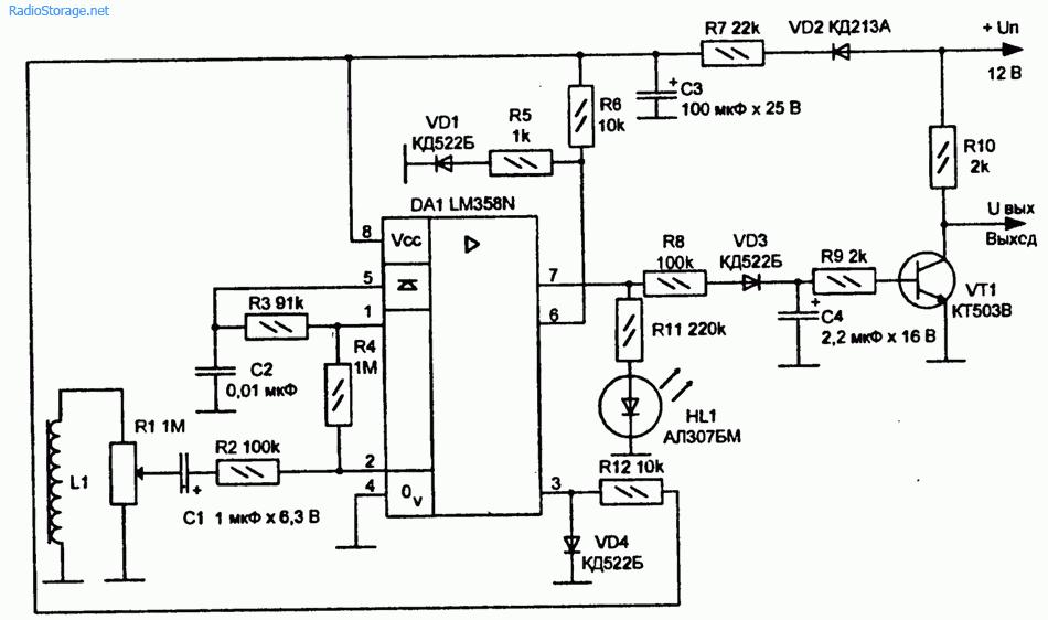Схема датчика сотрясения на микросхеме LM358N