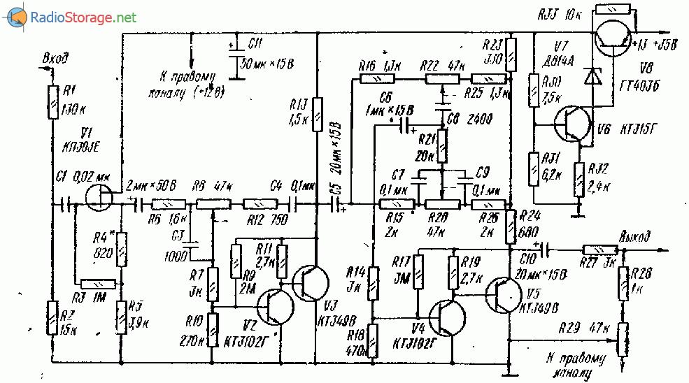 Предварительный усилитель с активным темброблоком, схема