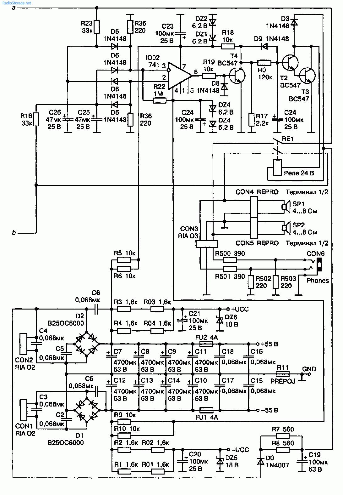 Схема УМЗЧ 2x150 Вт на микросхеме STK4048 XI