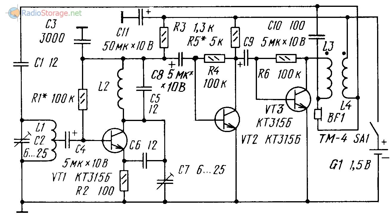 Схема самодельного транзисторного УКВ FM радиоприемника с ФАПЧ