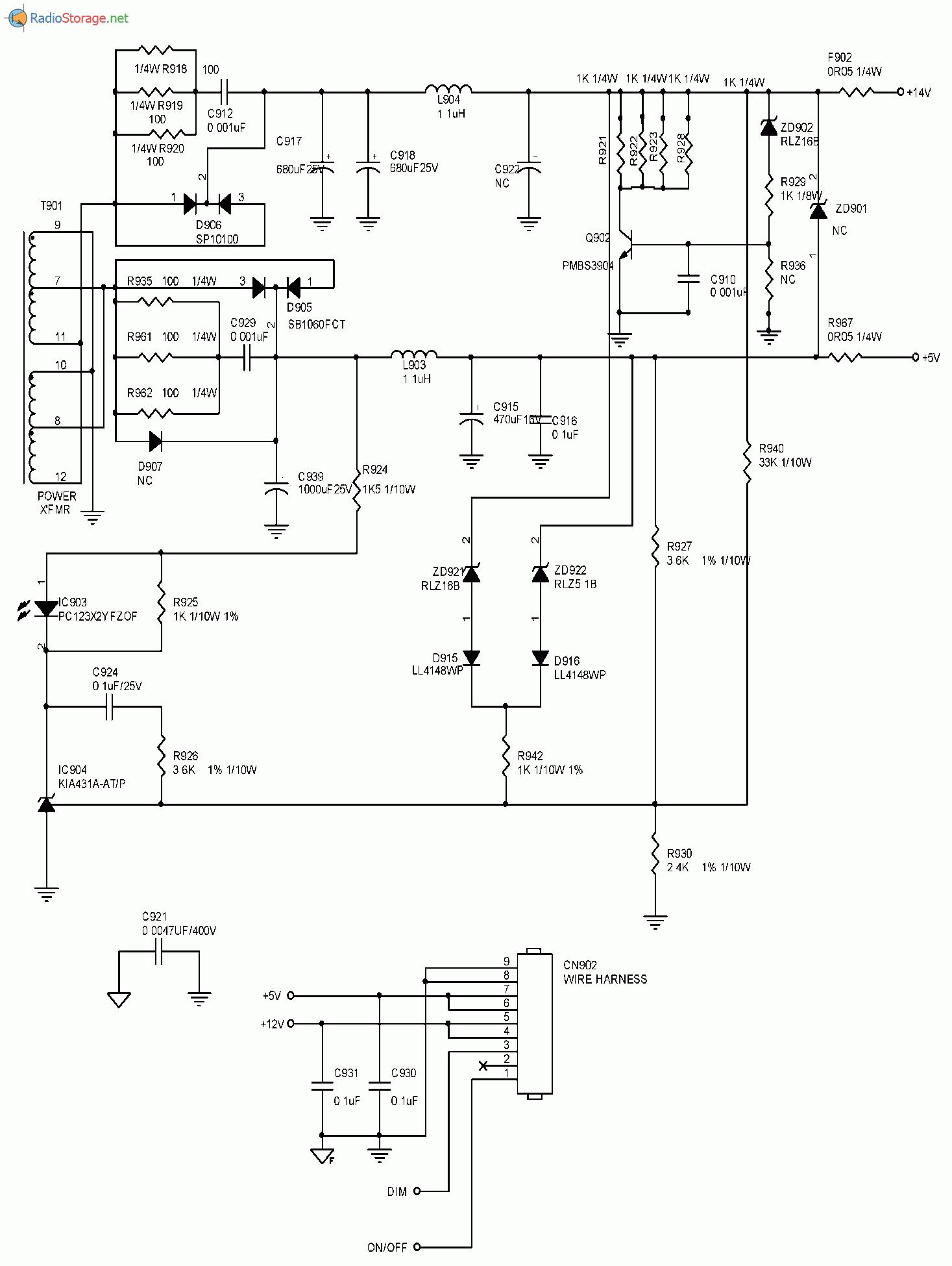 Схема блока питания монитора ASUS VW224U(часть 2)