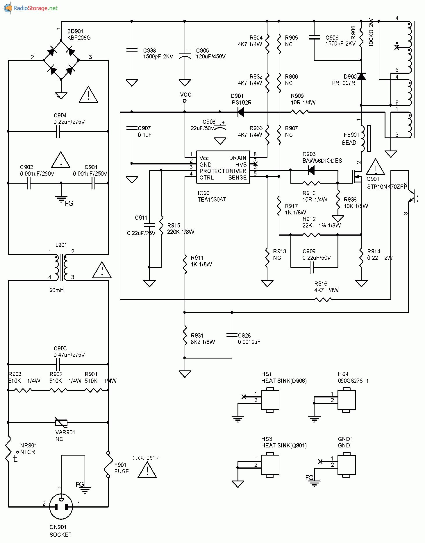 Схема блока питания монитора ASUS VW224U(часть 1)
