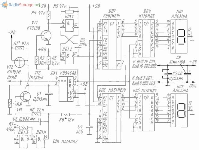 Принципиальная схема индикатора напряжения на микросхемах