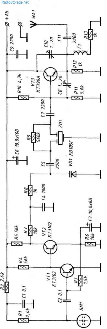 Схема транзисторного радиомикрофон на 350 МГц