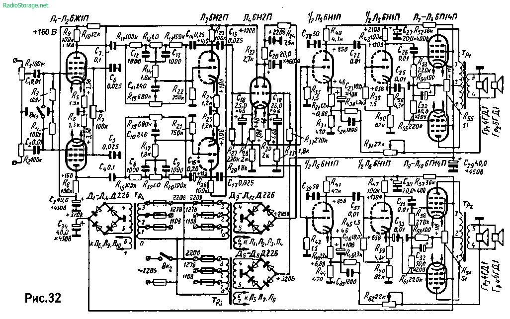 Схема стереофонического усилителя И. Степина на 6Ж1П, 6Н2П, 6Н1П, 6П14П