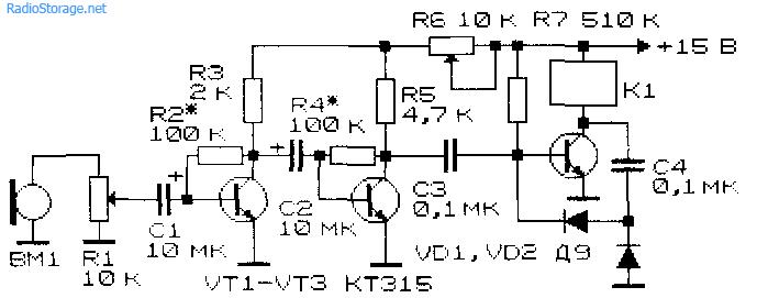 Принципиальная схема акустического реле на транзисторах