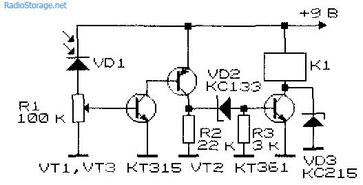 Принципиальная схема фотореле с двухкаскадным усилителем