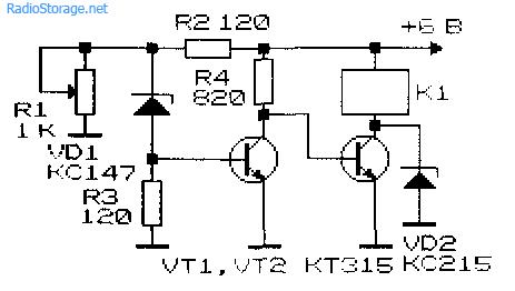 Принципиальная схема реле для контроля разряда аккумулятора