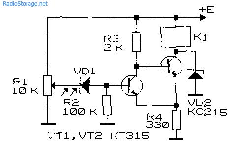 Принципиальная схема простого фото-реле на транзисторах