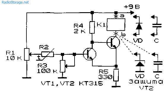 Схема простого термореле на транзисторах