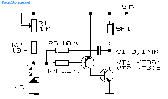 Принципиальная схема фотореле со звуковой сигнализацией