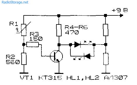 Принципиальная схема простого термо-индикатора на одном транзисторе и светодиодах
