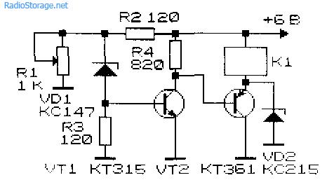 Принципиальная схема реле для контроля перезаряда аккумулятора