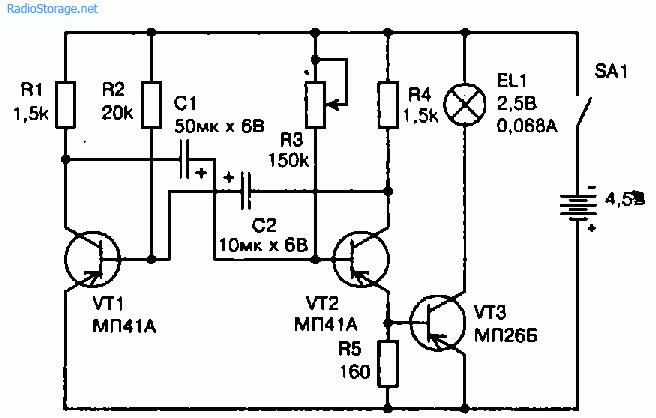 Схема экономичного импульсного фонарика на мультивибраторе