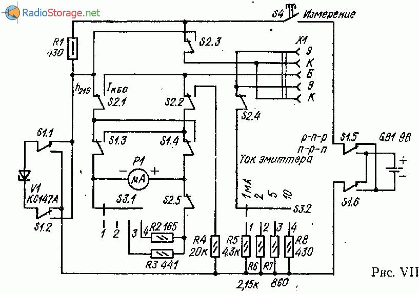 Испытатель маломощных транзисторов со стрелочной индикацией