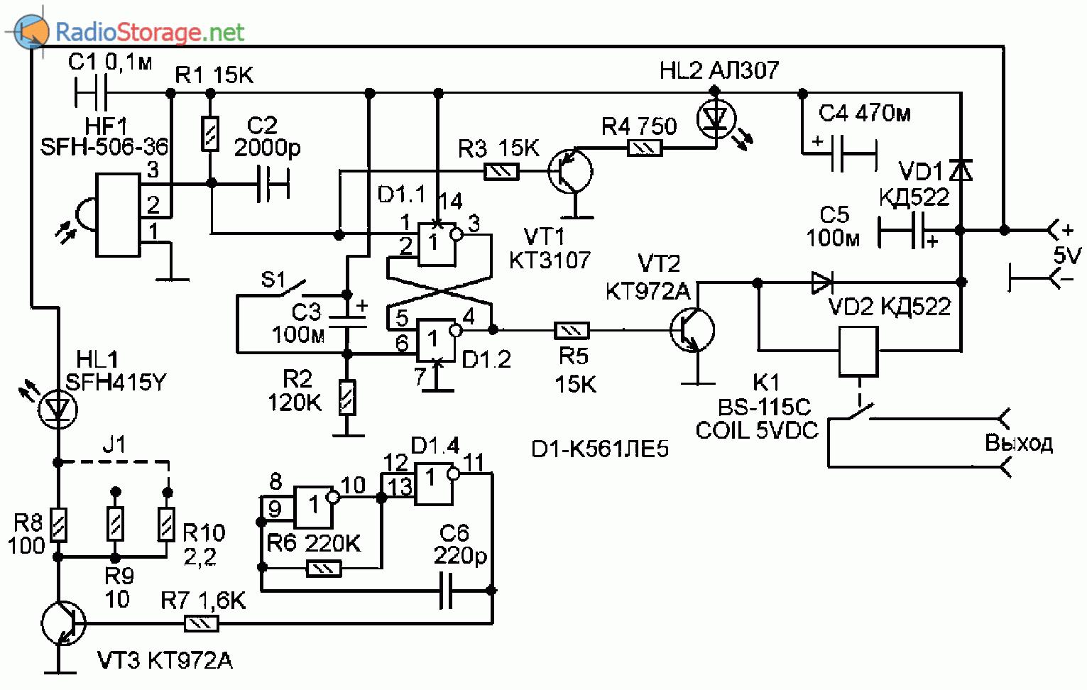 Принципиальная схема инфракрасной сигнализации на К561ЛЕ5 и SFH-506-36