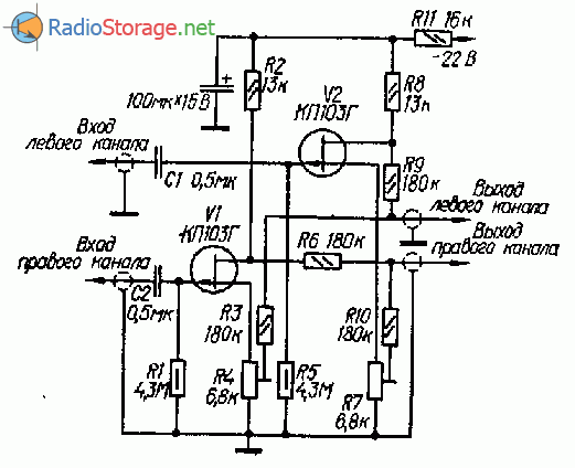 Компенсатор переходных помех на полевых транзисторах КП103