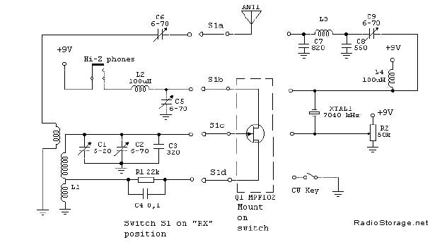 Коротковолновый QRP микротрансивер на одном транзисторе (40м), схема