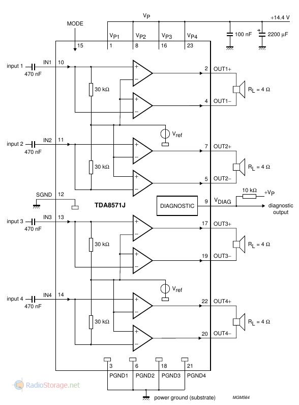 Принципиальная схема типового включения микросхемы TDA8571J