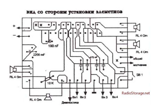 Печатяная плата для усилителя на микросхеме TDA8571