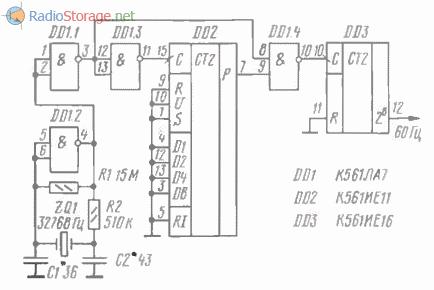 Принципиальная схема генератора импульсов частотой 60 Гц