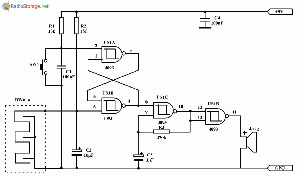 Простой сигнализатор влажности на микросхеме 4093, схема
