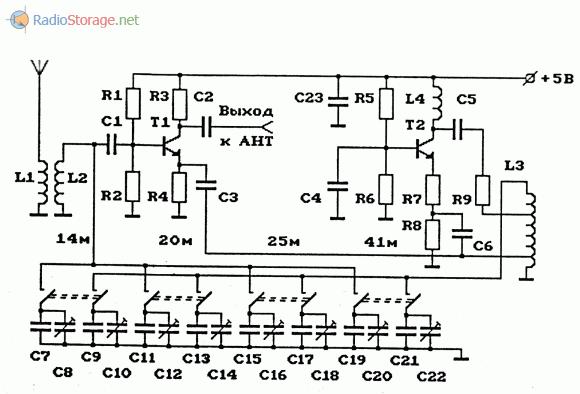 хема АМ-конвертера ( КВ в СВ ) с фиксированной частотой гетеродина