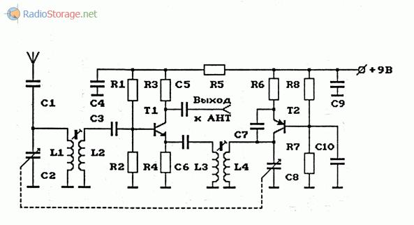 Схема АМ-конвертера (КВ в СВ) с фиксированной выходной частотой (СВ) и с перестраиваемыми частотами входного контура и гетеродина