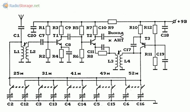 Схема АМ-конвертера ( КВ в СВ ) с фиксированной частотой гетеродина
