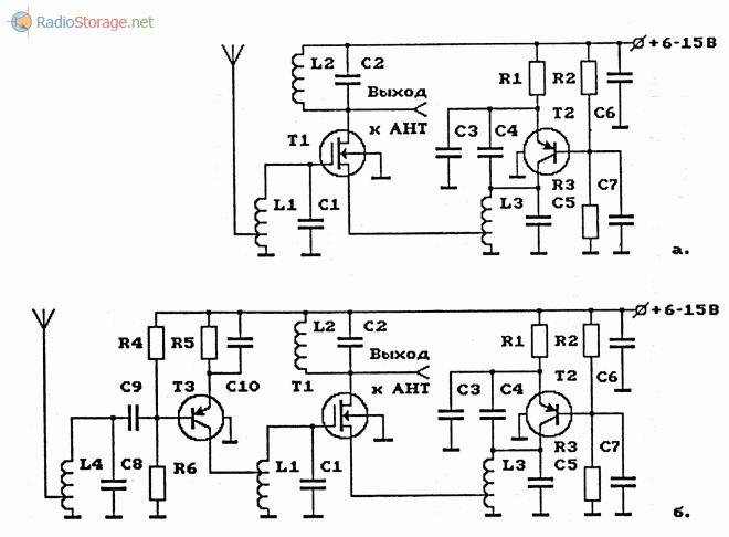 Схемы УКВ-ЧМ-конвертеров на биполярных и МОП-транзисторах