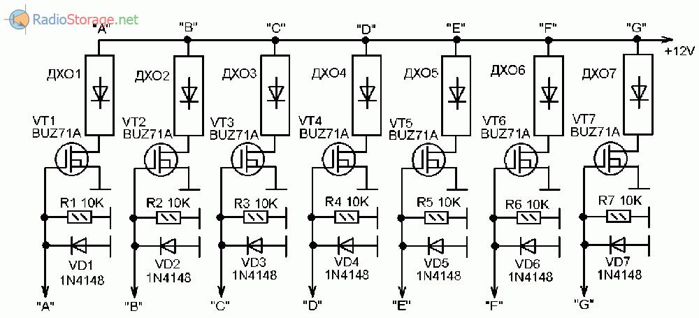 Принципиальная схема подключения мощных светодиодных ламп ДХО (статическая индикация)