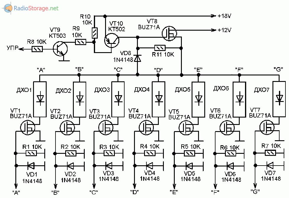Принципиальная схема подключения мощных светодиодных ламп ДХО (динамическая индикация)