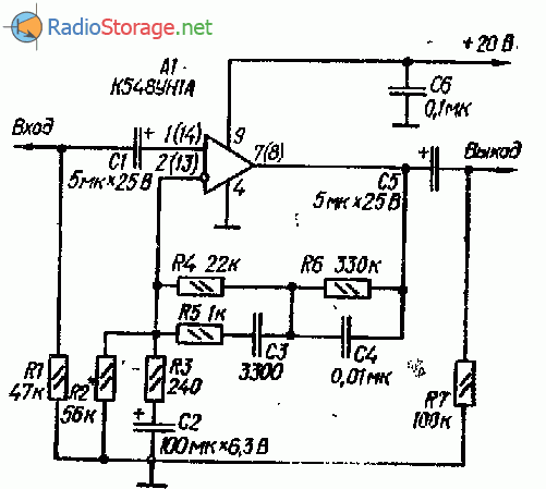 Простой предусилитель корректор (К548УН1А)